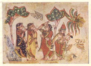 पिंगुळी (जि. सिंध्रुदुर्ग) येथील चित्रकथी-परंपरेतील पोथीचे एक पान:स्वयंवर कथेतील एक दृश्य.