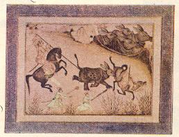 'गेंडयाची शिकार', दख्खनी कलम, सु.१६८०.