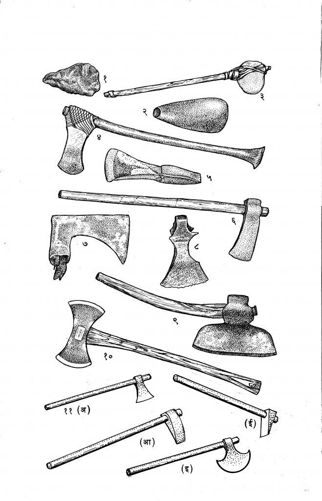 अश्मयुगीन ते आतापर्यंत वापरात असलेल्या विविध कुऱ्हाडी : (१) पुराणाश्मयुगीन फ्लिंटची कुऱ्हाड, (२) नवाश्मयुगातील दगडी कुऱ्हाड, (३) विसाव्या शतकातील ऑस्ट्रेलियातील रानटी लोकांची कुऱ्हाड, (४) इ. स. पू. २०००-१३०० काळातील ईजिप्तमधील युद्ध-कुऱ्हाड (ब्राँझयुगीन), (५) रोमन कारागिरी दाखविणारी इ. स. पू. तिसऱ्या शतकातील ब्राँझयुगीन कुऱ्हाड, (६) स्वित्झर्लंडमधील ला टीनी संस्कृती दाखविणारी तोंड असलेली व लाकडी दांडायुक्त कुऱ्हाड, (७) सातव्या शतकातील उत्तर फ्रान्समधूल युद्ध-कुऱ्हाड, (८) व्हायकिंग पद्धतीची कुऱ्हाड, (९) वसाहतीच्या काळातील रुंद पात्याची अमेरिकन कुऱ्हाड, (१०) आधुनिक दुधारी पोलादी कुऱ्हाड, (११) प्रचलित भारतीय कुऱ्हाड : (अ) फांद्या तोडण्याची कुऱ्हाड, (आ) लाकूड फोडण्याची कुऱ्हाड, (इ) फरशी (परशू), (ई) वाकस (सुताराची कुऱ्हाड)