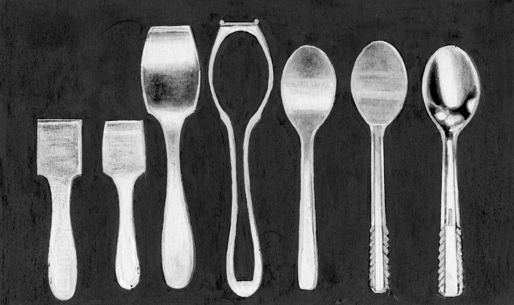 आ. २. दाब यंत्राने चमचा बनविण्याचे टप्पे