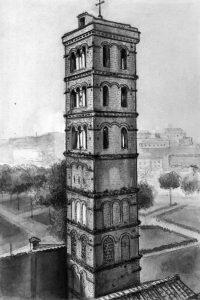 सेंट मारिया, रोम येथील घंटाघर (सु. १२००) : पुन:स्थापनापूर्व (१९५८)