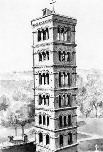 सेंट मारिया, रोम येथील घंटाघर (सु. १२००) : पुन:स्थापनोत्तर अवस्था (१९५८)