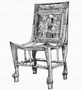 सुवर्णखचित लाकडी खुर्ची, ईजिप्त, इ. स. पू. सु. १४ वे शतक.
