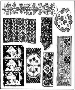 गालिचावरील संतुलक चौकटीचे विविध नमुने, अॅनातोलिया (तुर्कस्तान).
